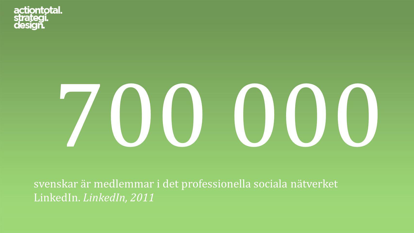 700 000 svenskar är medlemmar i det professionella sociala nätverket LinkedIn. LinkedIn, 2011