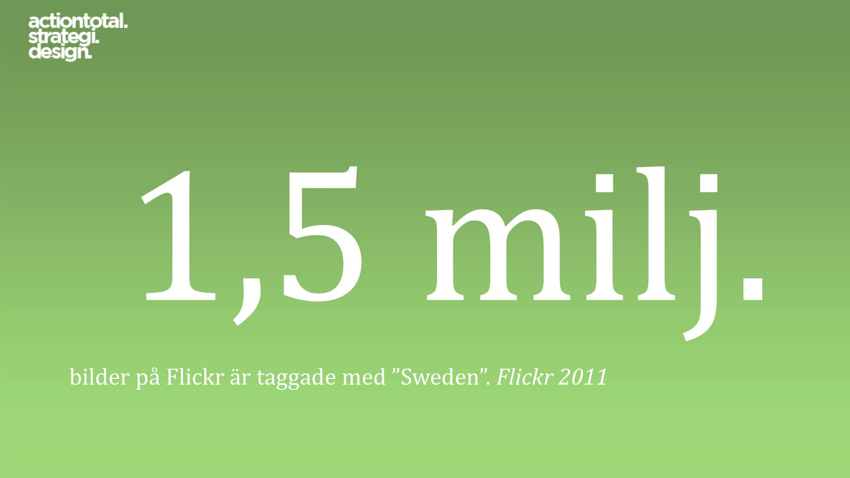 """1,5 milj. bilder på Flickr är taggade med """"Sweden"""". Flickr 2011"""