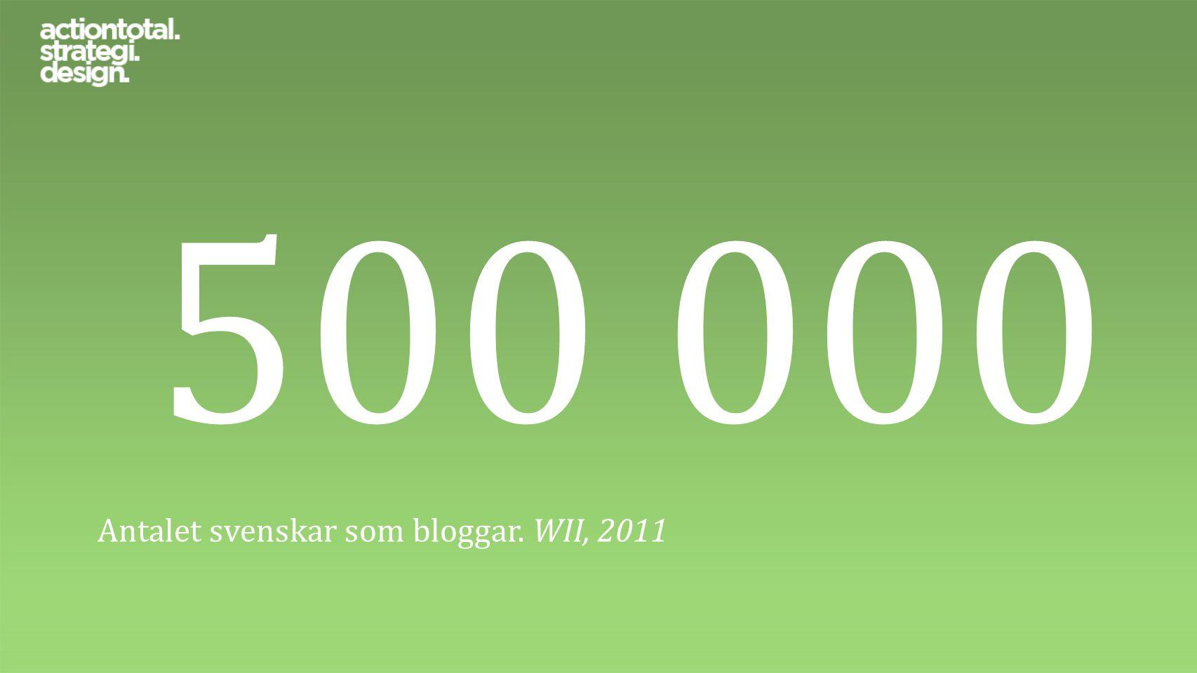 500 000 Antalet svenskar som bloggar. WII, 2011