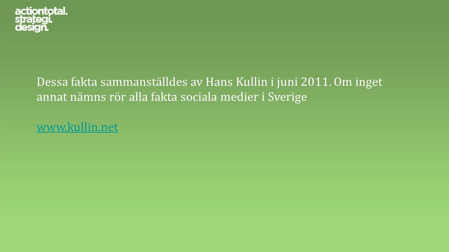 Dessa fakta sammanställdes av Hans Kullin i juni 2011. Om inget annat nämns rör alla fakta sociala medier i Sverige www.kullin.net