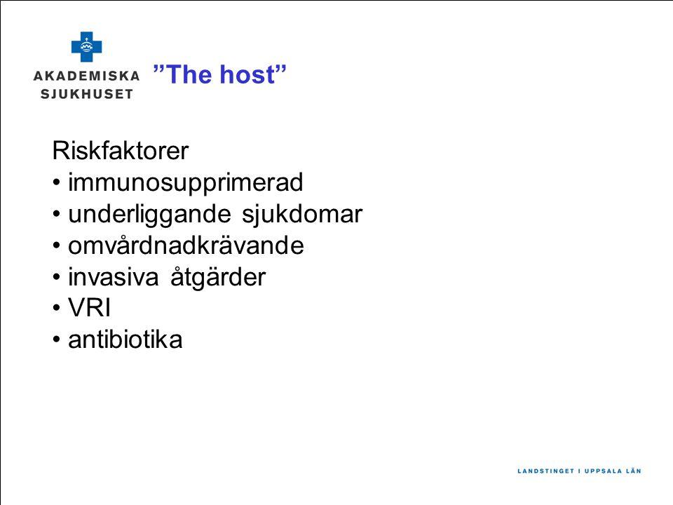 The host Riskfaktorer • immunosupprimerad • underliggande sjukdomar • omvårdnadkrävande • invasiva åtgärder • VRI • antibiotika
