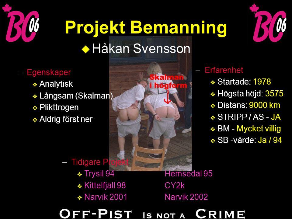 Projekt Bemanning u Håkan Svensson –T–Tidigare Projekt vTvTrysil 94Hemsedal 95 vKvKittelfjäll 98CY2k vNvNarvik 2001Narvik 2002 –Erfarenhet v Startade: 1978 v Högsta höjd: 3575 v Distans: 9000 km v STRIPP / AS - JA v BM - Mycket villig v SB -värde: Ja / 94 –Egenskaper v Analytisk v Långsam (Skalman) v Plikttrogen v Aldrig först ner