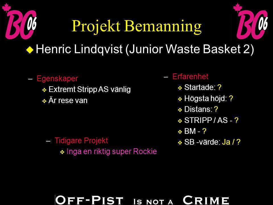 Projekt Bemanning u Henric Lindqvist (Junior Waste Basket 2) –Erfarenhet v Startade: .