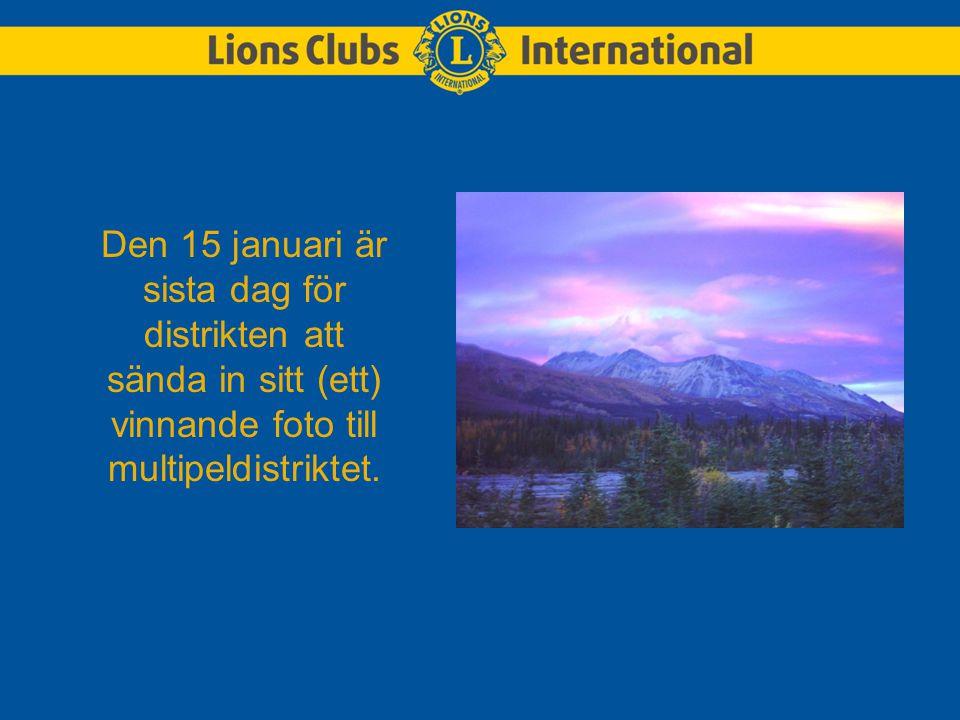 Den 15 januari är sista dag för distrikten att sända in sitt (ett) vinnande foto till multipeldistriktet.