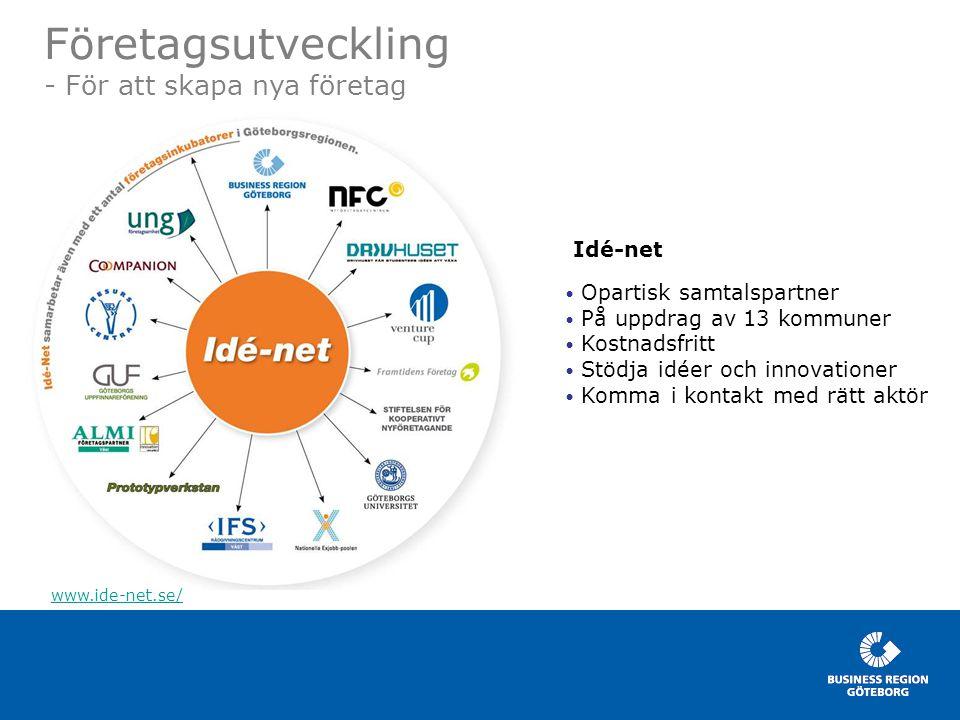 08-10-01 Drammen Visit www.businessregion.se Företagsutveckling - För att skapa nya företag www.ide-net.se/ Idé-net • Opartisk samtalspartner • På upp