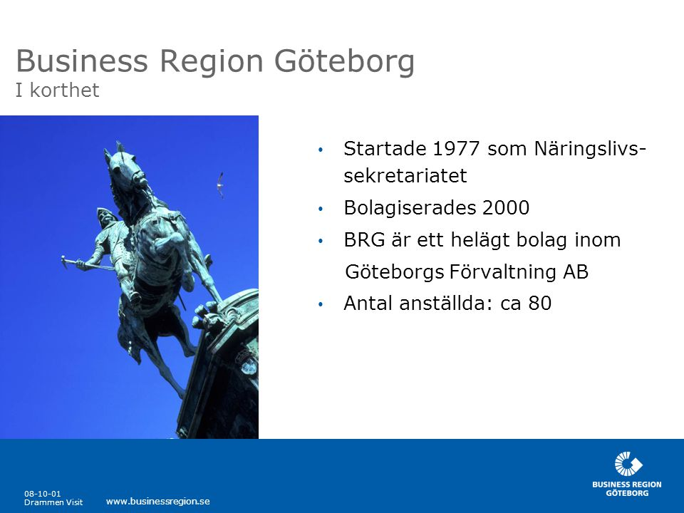 08-10-01 Drammen Visit www.businessregion.se Gränslösa projekt • Internationella nätverk - Port Elizabeth, Sydafrika - Göteborg/Oslo-samarbetet - Den Skandinaviska Arenan - Kinarådet/Shanghai - Lyon, Frankrike • Enterprise Europé Network