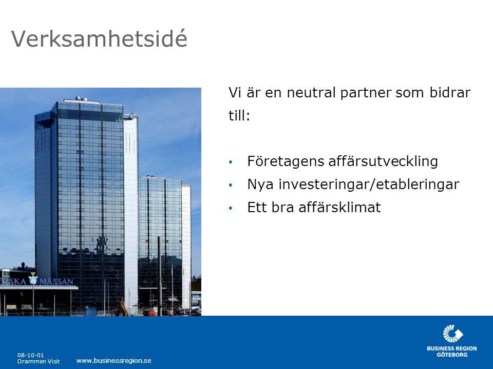 08-10-01 Drammen Visit www.businessregion.se Ecoex Ecoex vänder sig till företag i Västra Götaland som har potential att exportera miljörelaterade produkter och tjänster.