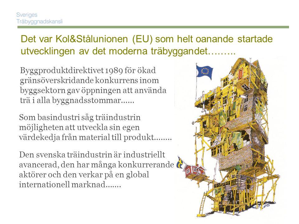 Byggproduktdirektivet 1989 för ökad gränsöverskridande konkurrens inom byggsektorn gav öppningen att använda trä i alla byggnadsstommar…… Det var Kol&Stålunionen (EU) som helt oanande startade utvecklingen av det moderna träbyggandet….…..