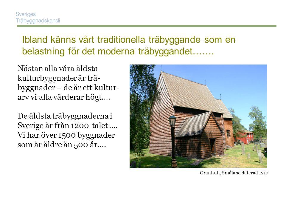 Nästan alla våra äldsta kulturbyggnader är trä- byggnader – de är ett kultur- arv vi alla värderar högt….