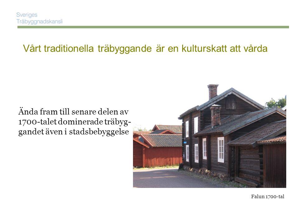 Ända fram till senare delen av 1700-talet dominerade träbyg- gandet även i stadsbebyggelse Vårt traditionella träbyggande är en kulturskatt att vårda Habo kyrka 1723 Då hade vi kunskap att bygga även större träkonstruktioner
