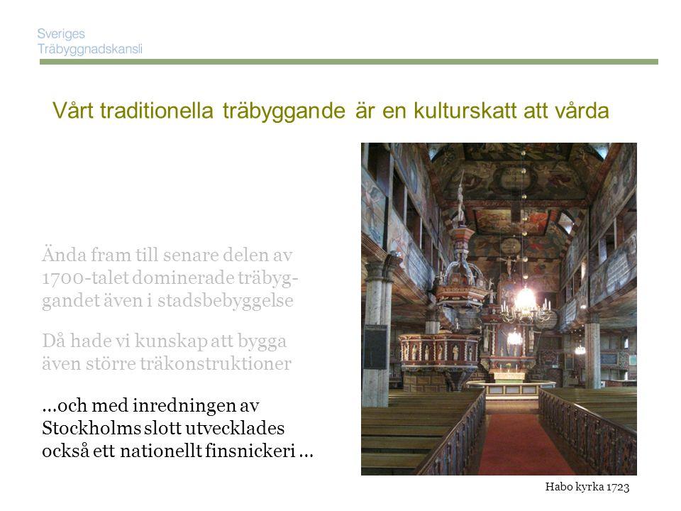 Kulturarvet har nog bidragit till en fördröjning av det moderna träbyggandets formspråk ……..