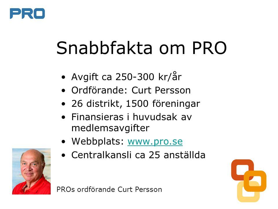 Snabbfakta om PRO •Avgift ca 250-300 kr/år •Ordförande: Curt Persson •26 distrikt, 1500 föreningar •Finansieras i huvudsak av medlemsavgifter •Webbplats: www.pro.sewww.pro.se •Centralkansli ca 25 anställda PROs ordförande Curt Persson