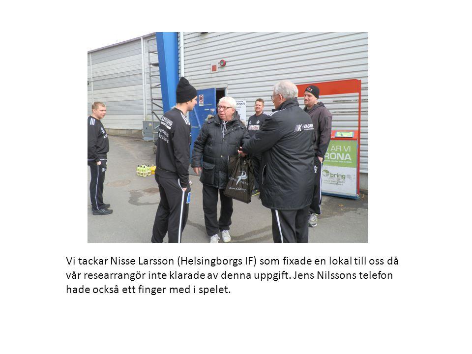 Vi tackar Nisse Larsson (Helsingborgs IF) som fixade en lokal till oss då vår researrangör inte klarade av denna uppgift.