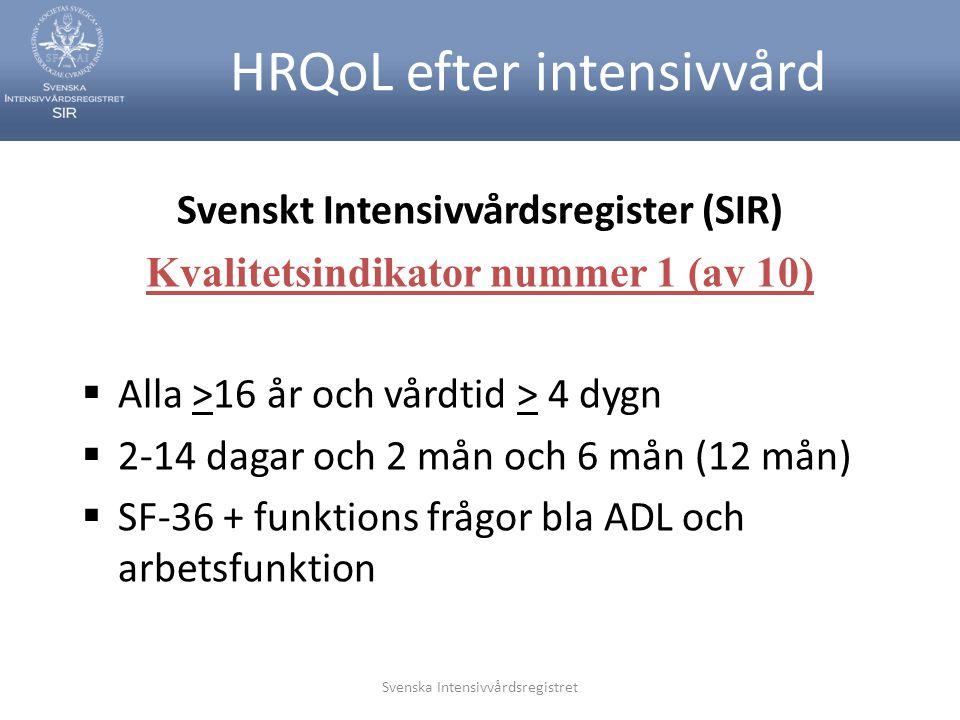 Svenska Intensivvårdsregistret HRQoL efter intensivvård Svenskt Intensivvårdsregister (SIR) Kvalitetsindikator nummer 1 (av 10)  Alla >16 år och vård