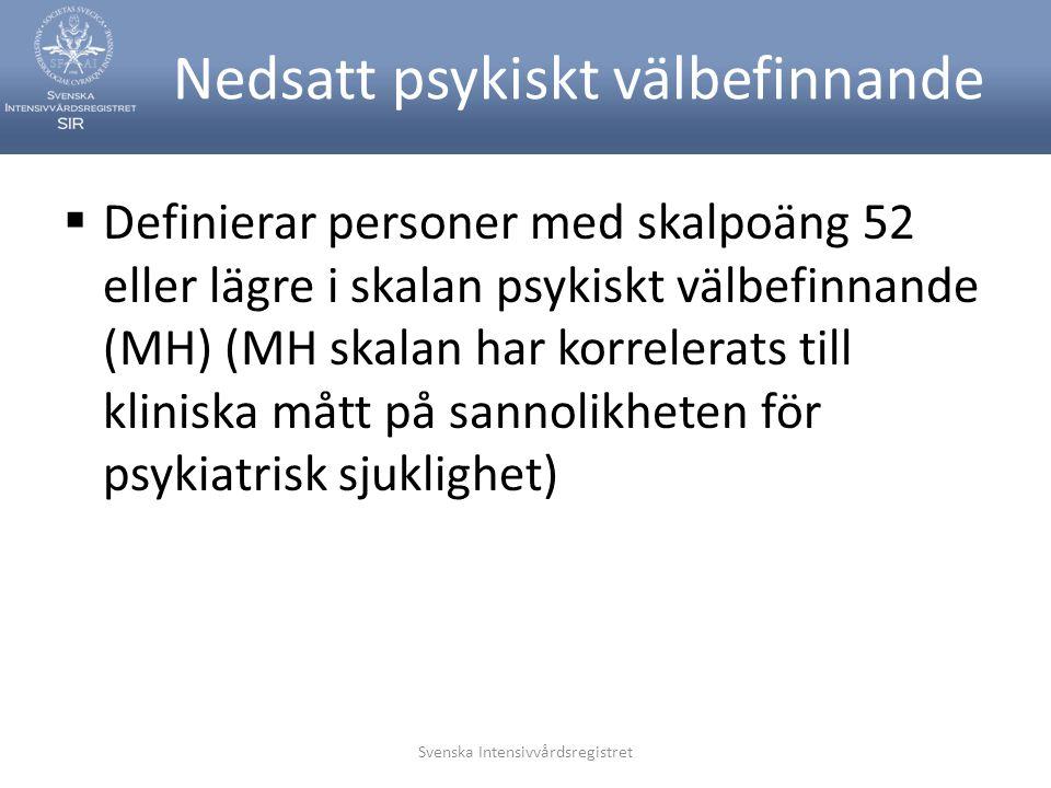Svenska Intensivvårdsregistret Nedsatt psykiskt välbefinnande  Definierar personer med skalpoäng 52 eller lägre i skalan psykiskt välbefinnande (MH) (MH skalan har korrelerats till kliniska mått på sannolikheten för psykiatrisk sjuklighet)