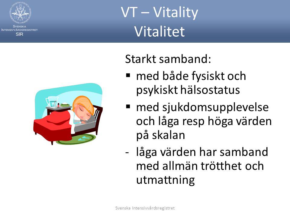 Svenska Intensivvårdsregistret VT – Vitality Vitalitet Starkt samband:  med både fysiskt och psykiskt hälsostatus  med sjukdomsupplevelse och låga r