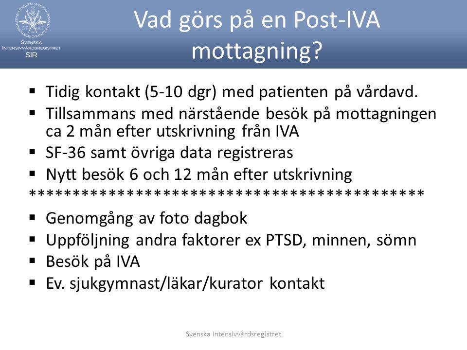 Svenska Intensivvårdsregistret Vad görs på en Post-IVA mottagning?  Tidig kontakt (5-10 dgr) med patienten på vårdavd.  Tillsammans med närstående b