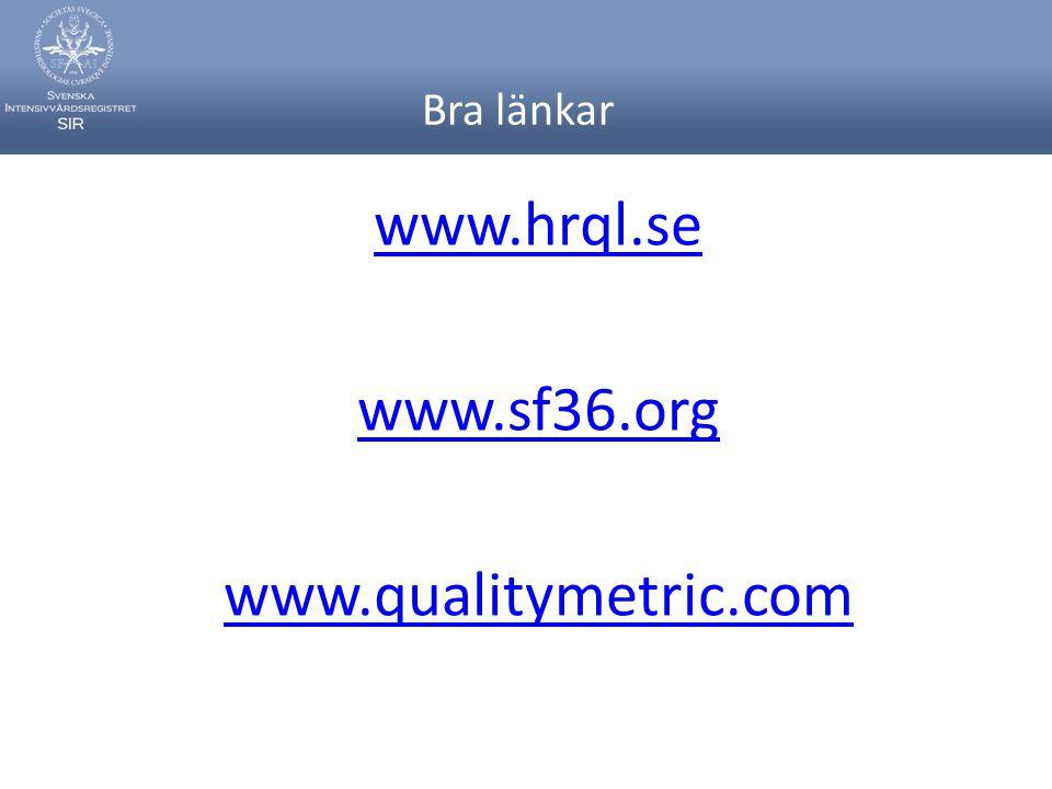 Bra länkar www.hrql.se www.sf36.org www.qualitymetric.com