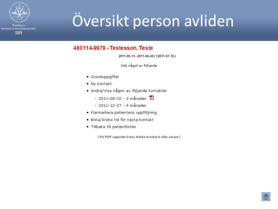 Översikt person avliden 480114-9979 - Testesson, Teste 2011-05-13 - 2011-06-28 ( †2011-07-16 )