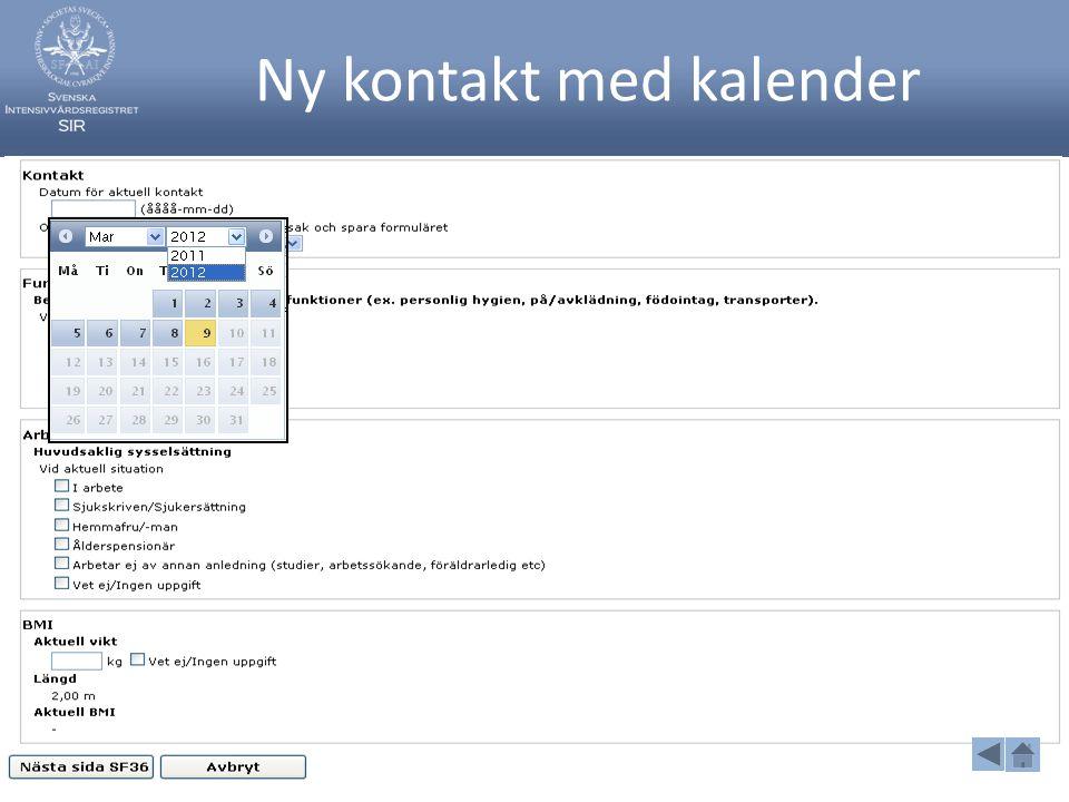 Ny kontakt med kalender