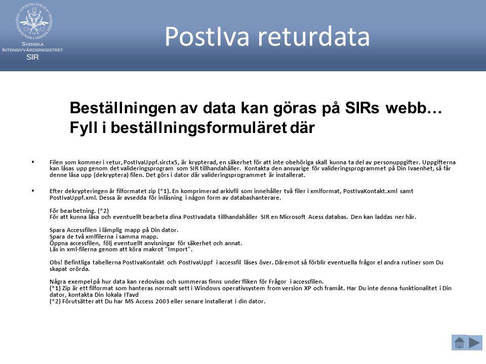 PostIva returdata  Filen som kommer i retur, PostIvaUppf.sirctx5, är krypterad, en säkerhet för att inte obehöriga skall kunna ta del av personuppgif