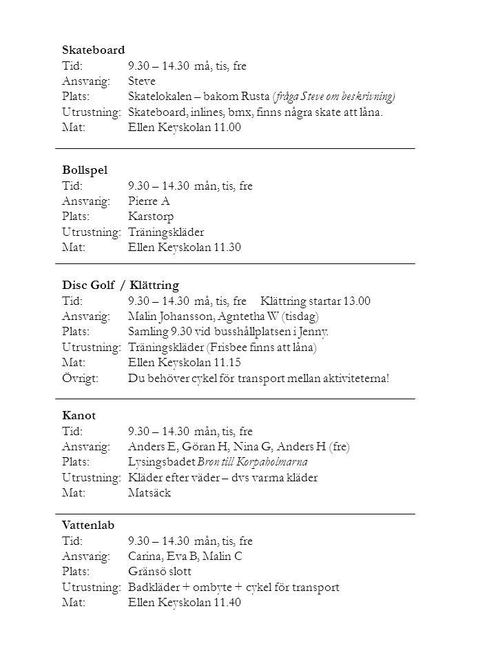 Skateboard Tid:9.30 – 14.30må, tis, fre Ansvarig:Steve Plats:Skatelokalen – bakom Rusta (fråga Steve om beskrivning) Utrustning:Skateboard, inlines, b