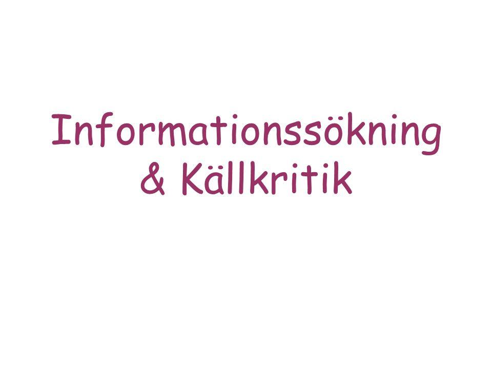 Informationssökning & Källkritik