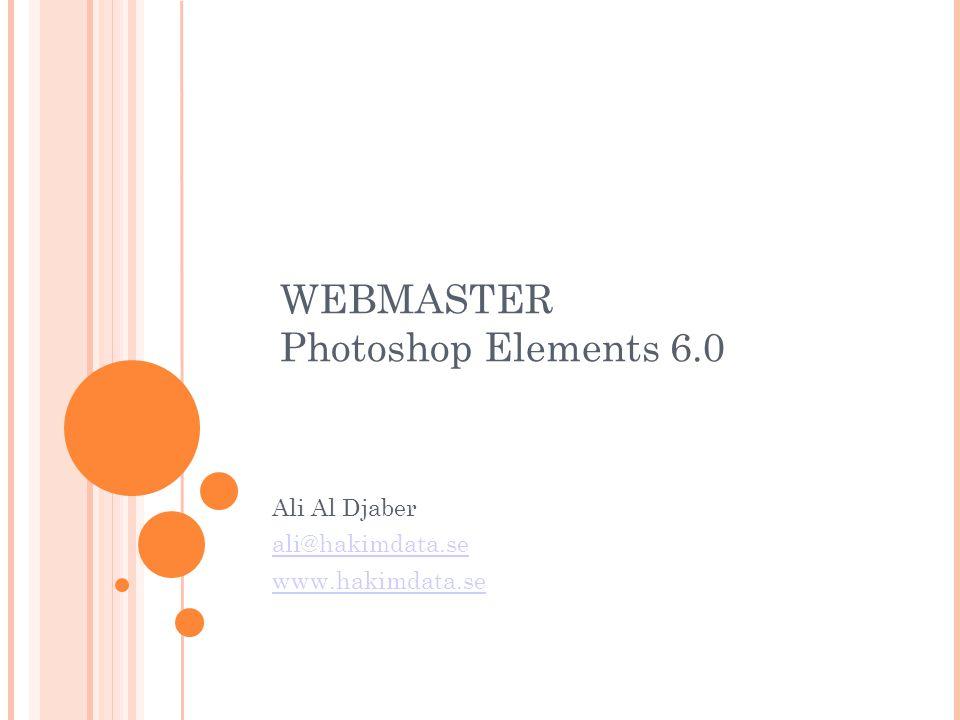 WEBMASTER Photoshop Elements 6.0 Ali Al Djaber ali@hakimdata.se www.hakimdata.se