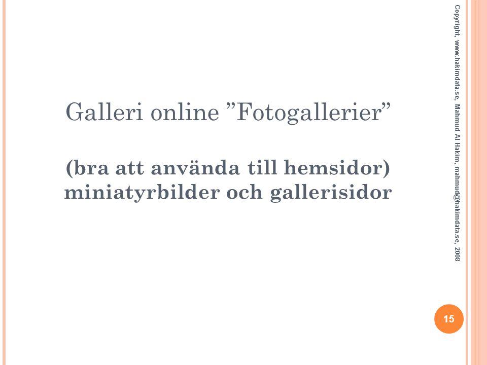 """Galleri online """"Fotogallerier"""" (bra att använda till hemsidor) miniatyrbilder och gallerisidor 15 Copyright, www.hakimdata.se, Mahmud Al Hakim, mahmud"""