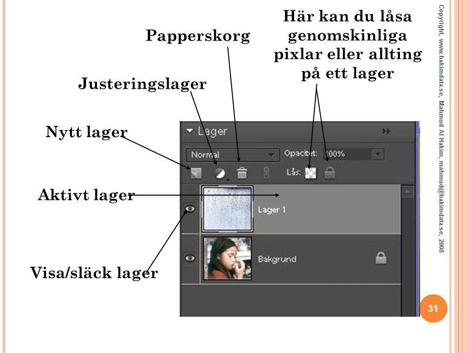 31 Copyright, www.hakimdata.se, Mahmud Al Hakim, mahmud@hakimdata.se, 2008 Här kan du låsa genomskinliga pixlar eller allting på ett lager Papperskorg
