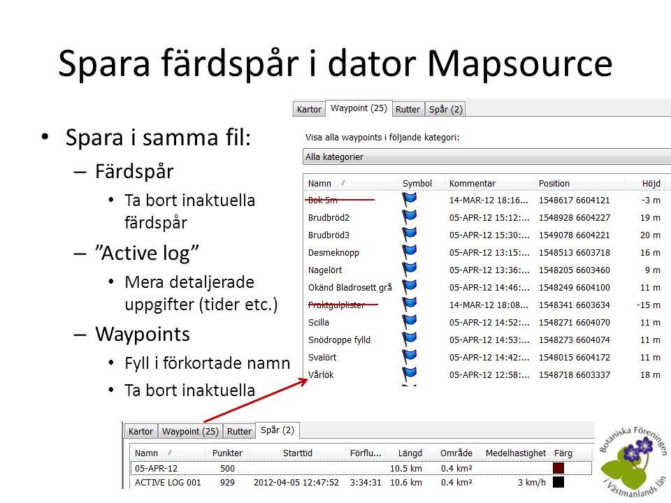 Uppdatera mjukvaran i GPS:n • Med Garmin WebUpdater http://www8.garmin.com/ products/webupdater/ – Behövdes för de nya eTrex 20