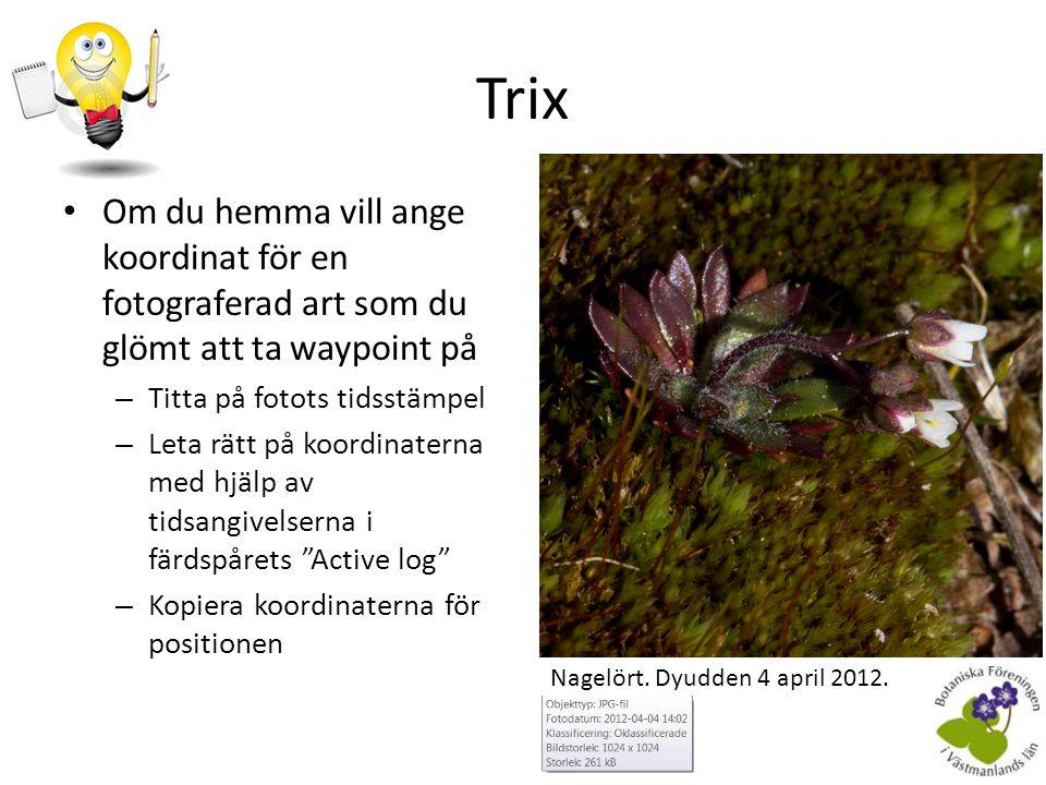 Övrigt • I filen startup.txt kan man skriva in namn (eTrex 20) – Botaniska Föreningen i Västmanlands län inlagt – Komplettera gärna med personnamn och telefonnummer