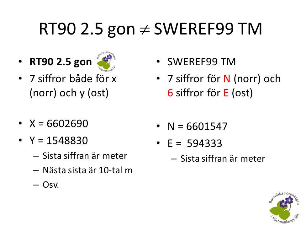Koordinattransformation • Finns på Lantmäteriets hemsidaLantmäteriets hemsida – RT90  SWEREF99