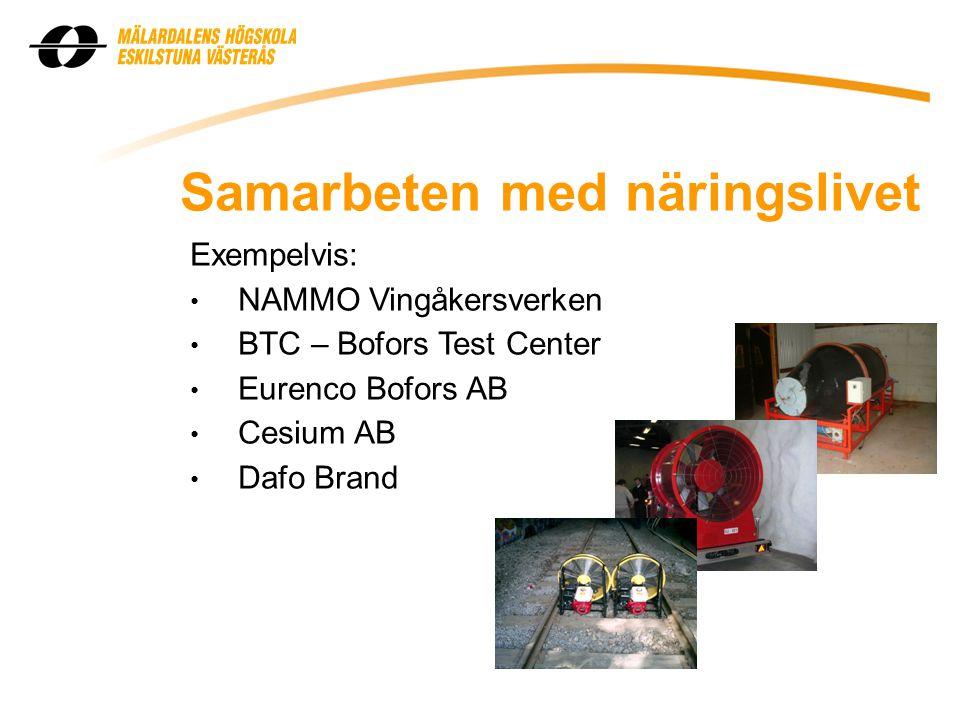 Samarbeten med näringslivet Exempelvis: • NAMMO Vingåkersverken • BTC – Bofors Test Center • Eurenco Bofors AB • Cesium AB • Dafo Brand
