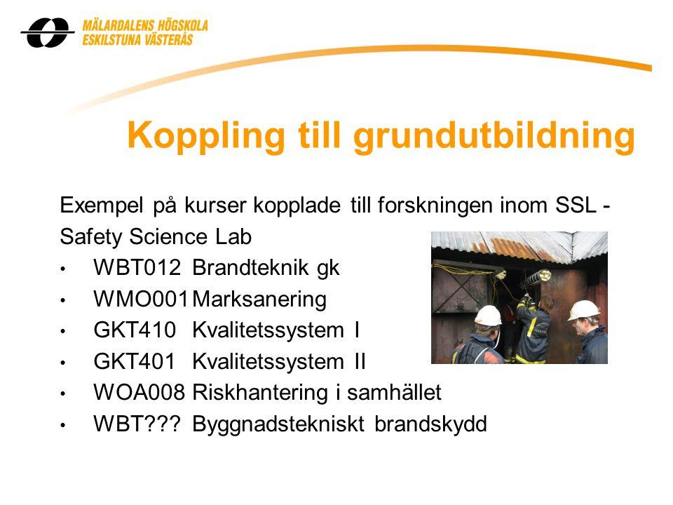 Koppling till grundutbildning Exempel på kurser kopplade till forskningen inom SSL - Safety Science Lab • WBT012Brandteknik gk • WMO001Marksanering • GKT410Kvalitetssystem I • GKT401Kvalitetssystem II • WOA008Riskhantering i samhället • WBT???Byggnadstekniskt brandskydd