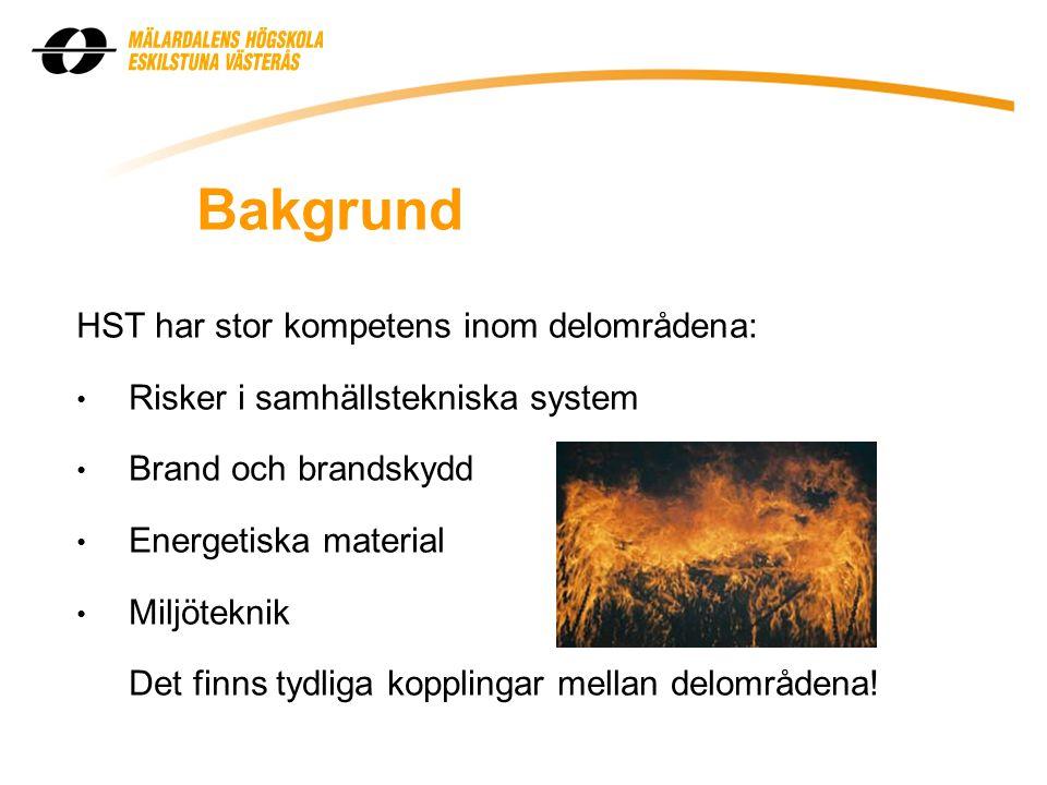 Bakgrund HST har stor kompetens inom delområdena: • Risker i samhällstekniska system • Brand och brandskydd • Energetiska material • Miljöteknik Det finns tydliga kopplingar mellan delområdena!