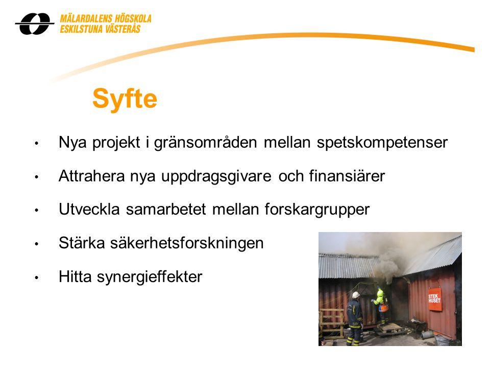 Syfte • Nya projekt i gränsområden mellan spetskompetenser • Attrahera nya uppdragsgivare och finansiärer • Utveckla samarbetet mellan forskargrupper • Stärka säkerhetsforskningen • Hitta synergieffekter