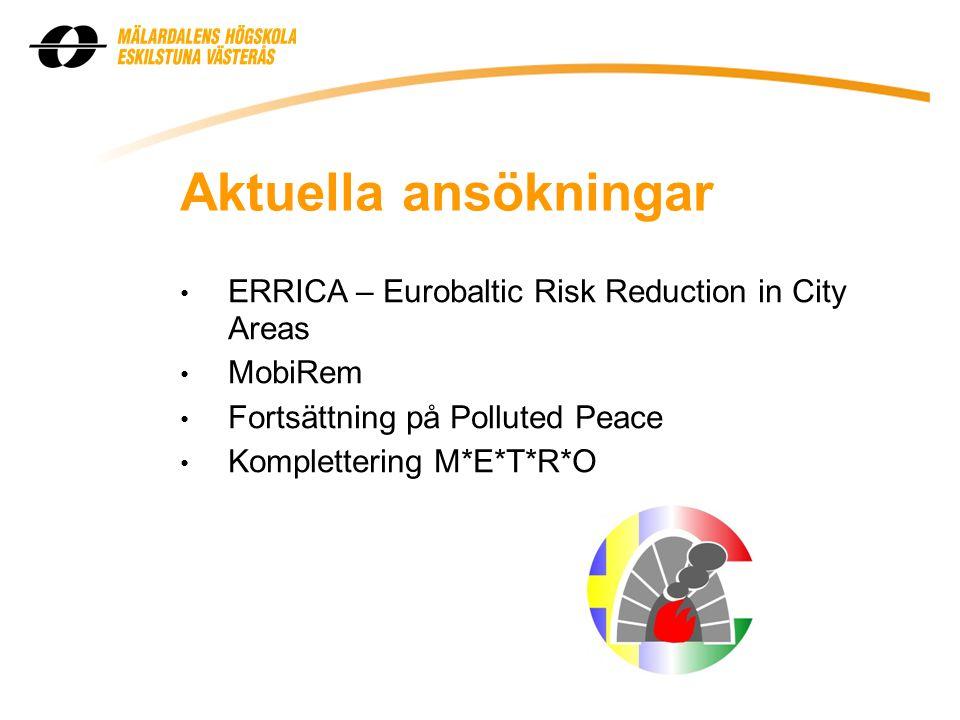Aktuella ansökningar • ERRICA – Eurobaltic Risk Reduction in City Areas • MobiRem • Fortsättning på Polluted Peace • Komplettering M*E*T*R*O