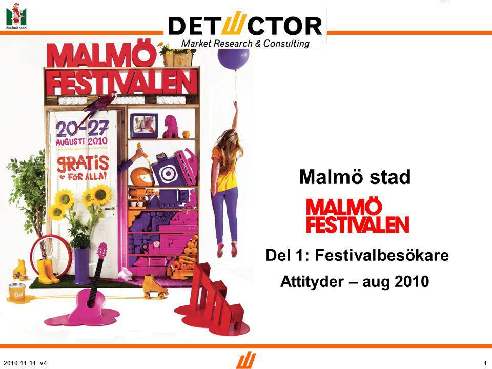 2010-11-11 v41 2010 Malmö stad Del 1: Festivalbesökare Attityder – aug 2010