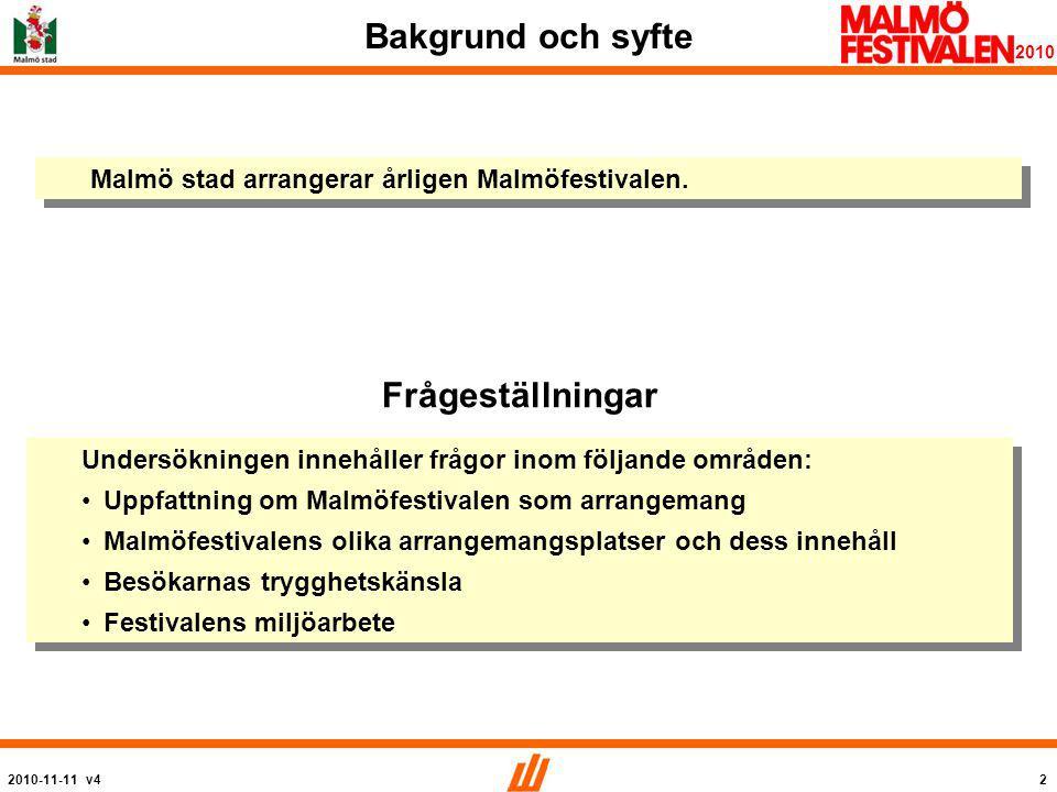 2010-11-11 v43 2010 Metod Detta är del 1 av 2 i en undersökning av Malmöfestivalen.