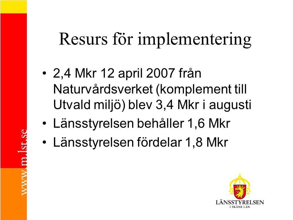 Resurs för implementering •2,4 Mkr 12 april 2007 från Naturvårdsverket (komplement till Utvald miljö) blev 3,4 Mkr i augusti •Länsstyrelsen behåller 1