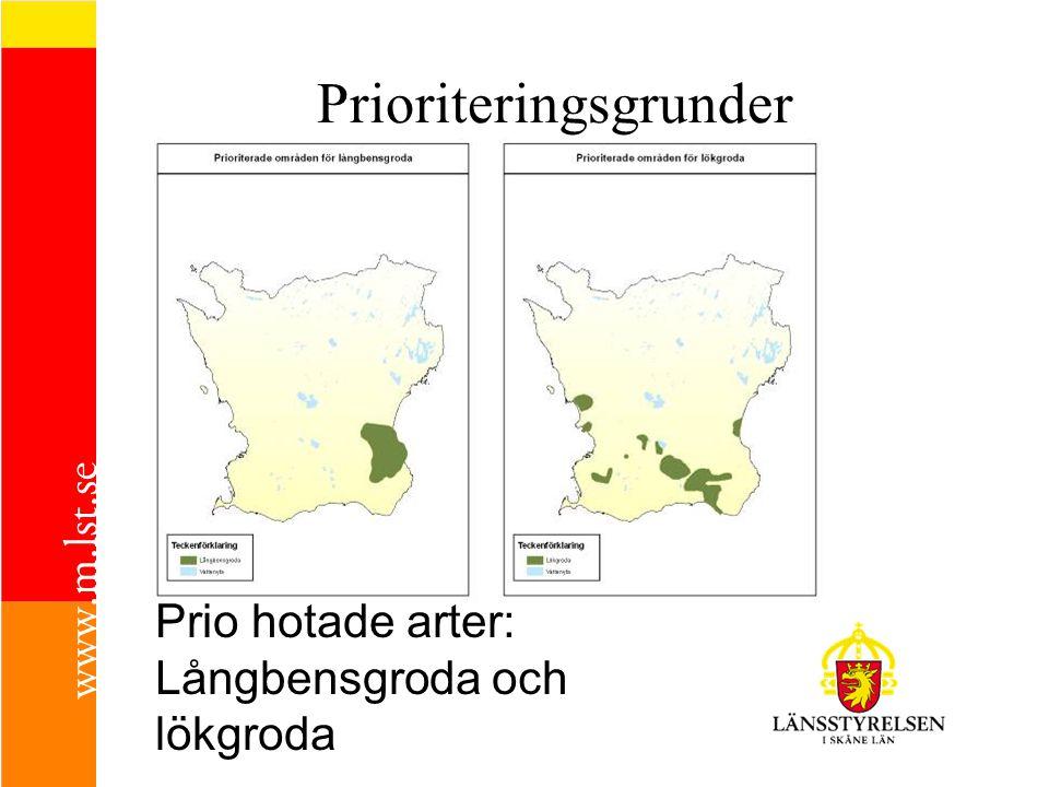 Prio hotade arter: Långbensgroda och lökgroda Prioriteringsgrunder