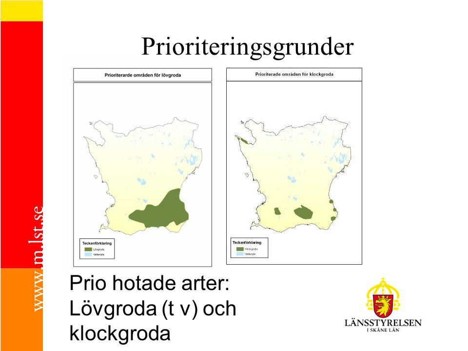 Prio hotade arter: Lövgroda (t v) och klockgroda Prioriteringsgrunder