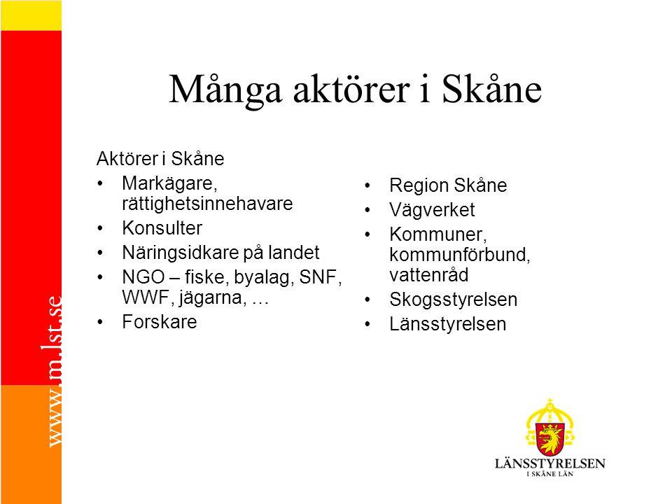 Många aktörer i Skåne Aktörer i Skåne •Markägare, rättighetsinnehavare •Konsulter •Näringsidkare på landet •NGO – fiske, byalag, SNF, WWF, jägarna, …
