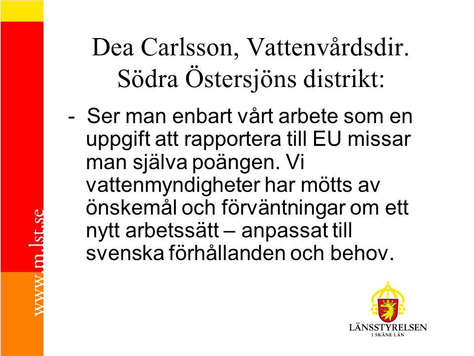 Dea Carlsson, Vattenvårdsdir. Södra Östersjöns distrikt: - Ser man enbart vårt arbete som en uppgift att rapportera till EU missar man själva poängen.