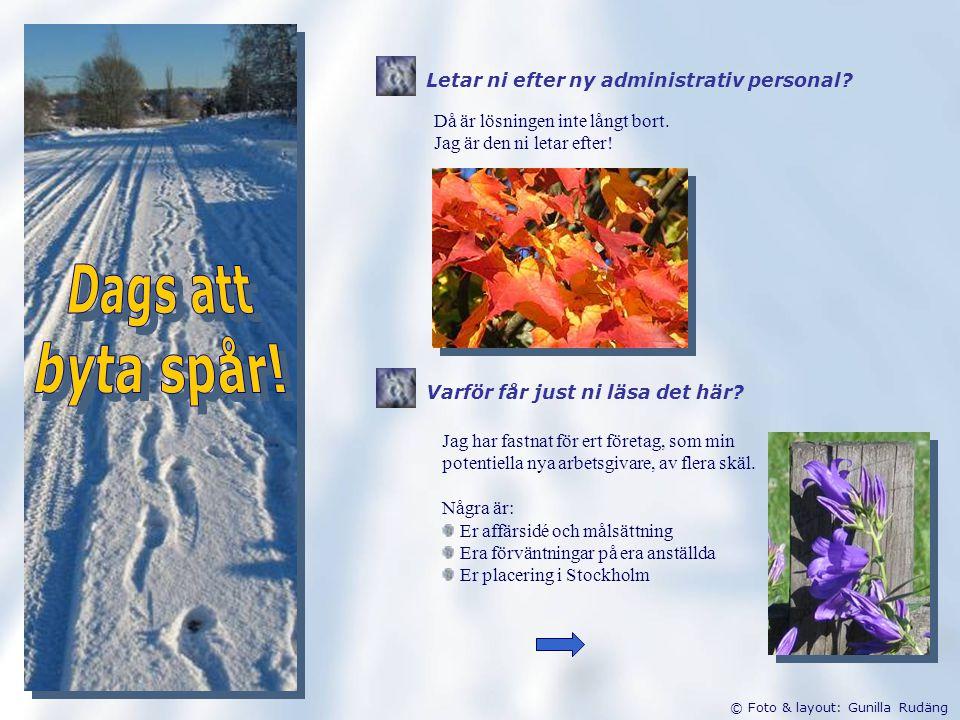 © Foto & layout: Gunilla Rudäng Då är lösningen inte långt bort.