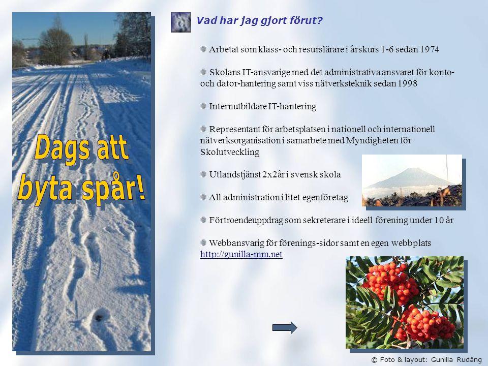 © Foto & layout: Gunilla Rudäng Vad har jag gjort förut.
