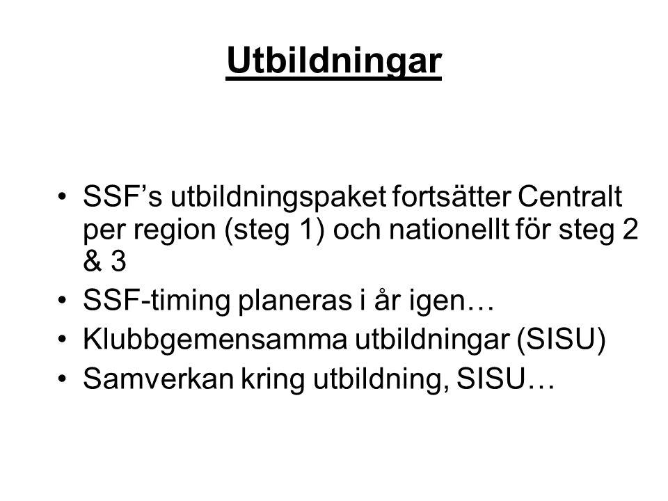 •SSF's utbildningspaket fortsätter Centralt per region (steg 1) och nationellt för steg 2 & 3 •SSF-timing planeras i år igen… •Klubbgemensamma utbildn