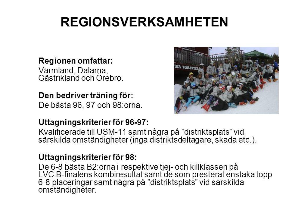 REGIONSVERKSAMHETEN Regionen omfattar: Värmland, Dalarna, Gästrikland och Örebro. Den bedriver träning för: De bästa 96, 97 och 98:orna. Uttagningskri