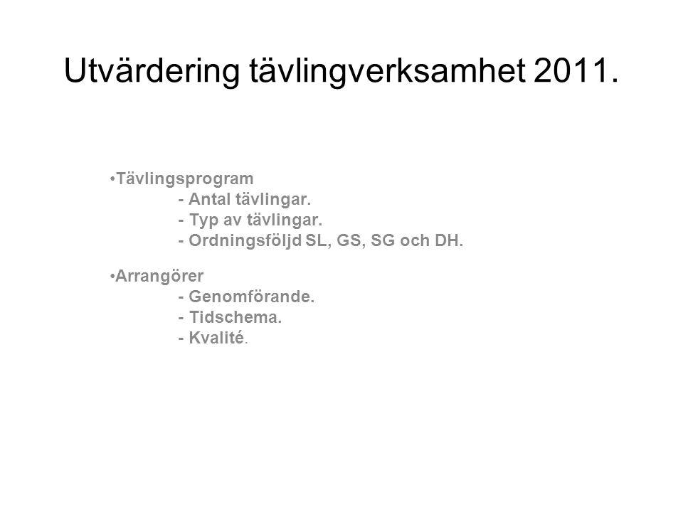Utvärdering tävlingverksamhet 2011. •Tävlingsprogram - Antal tävlingar. - Typ av tävlingar. - Ordningsföljd SL, GS, SG och DH. •Arrangörer - Genomföra